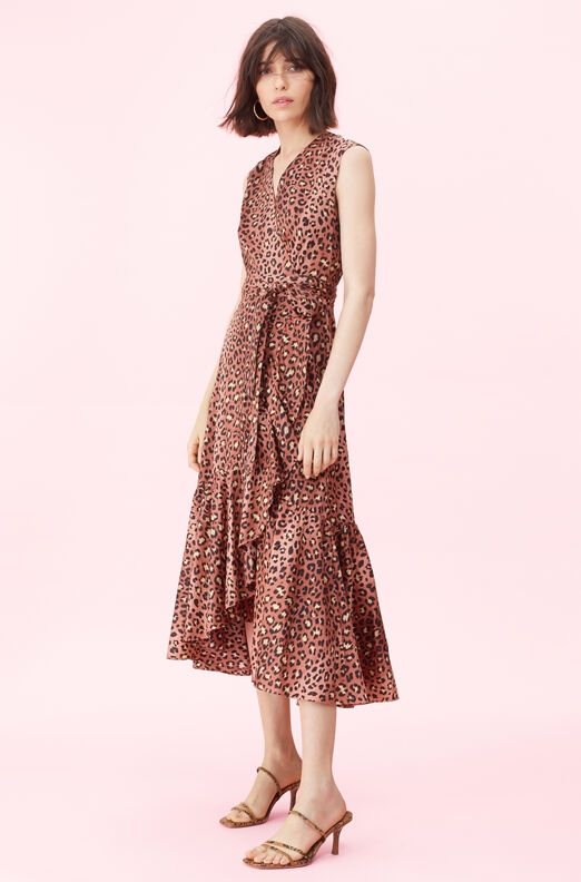 Spring Leopard Wrap Dress