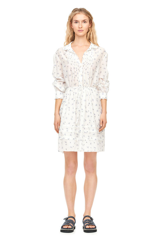 Spring Floral Voile Shirtdress - Snow Combo
