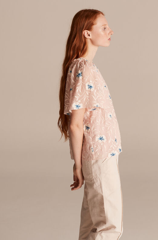 Trellis Fleur Embroidered Top, Peach Combo, large