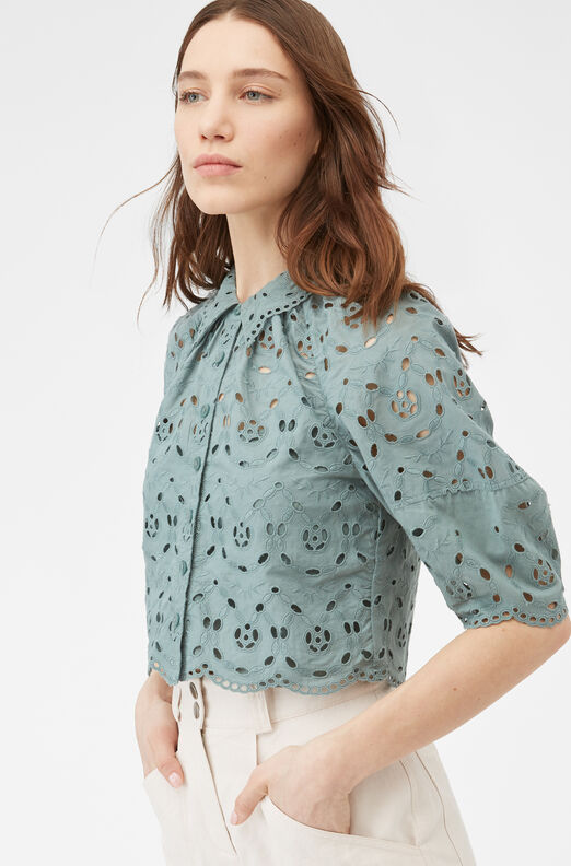 Mina Eyelet Top, Spruce, large