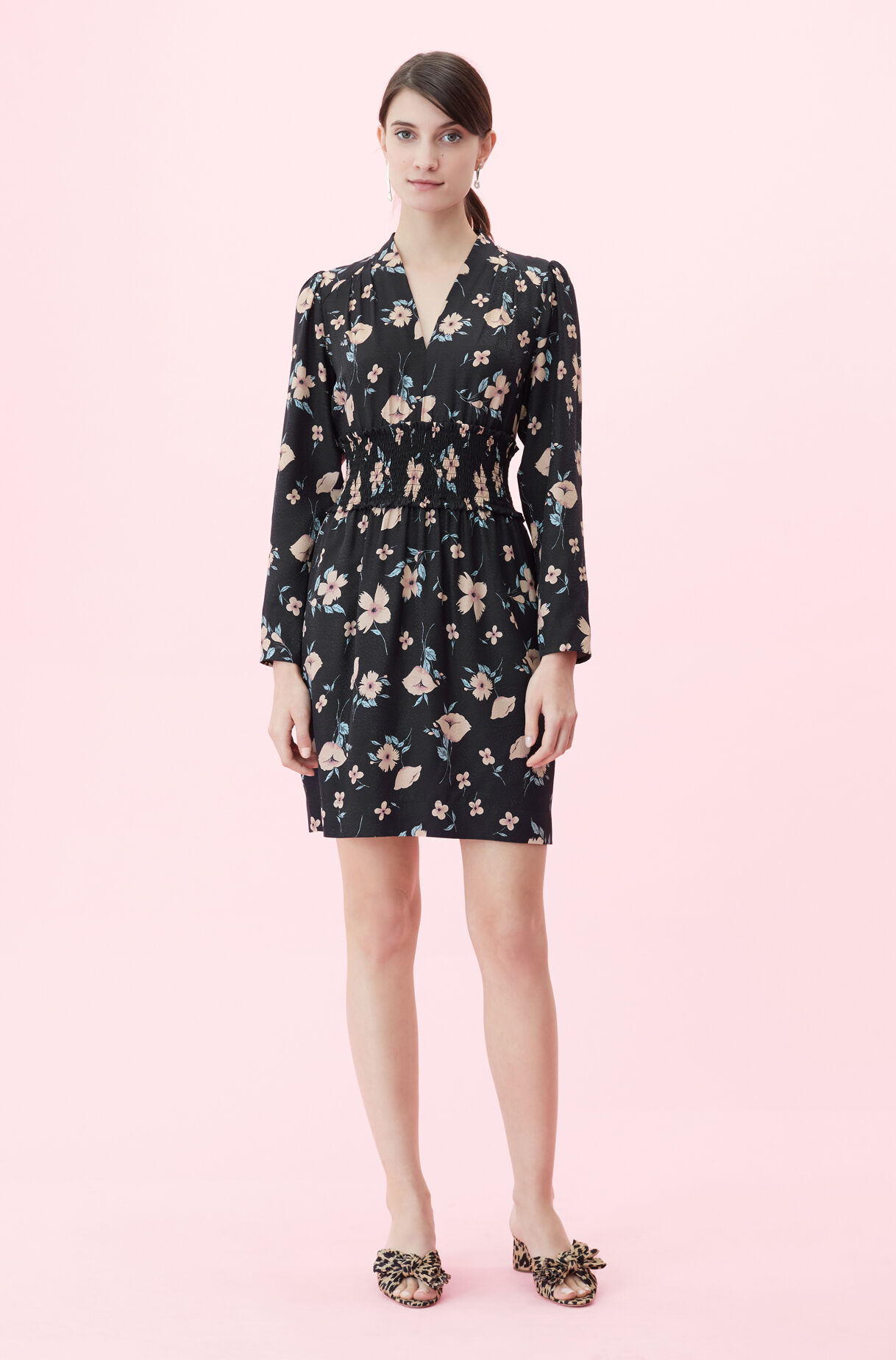 Daniella Floral V Neck Dress Rebecca Taylor