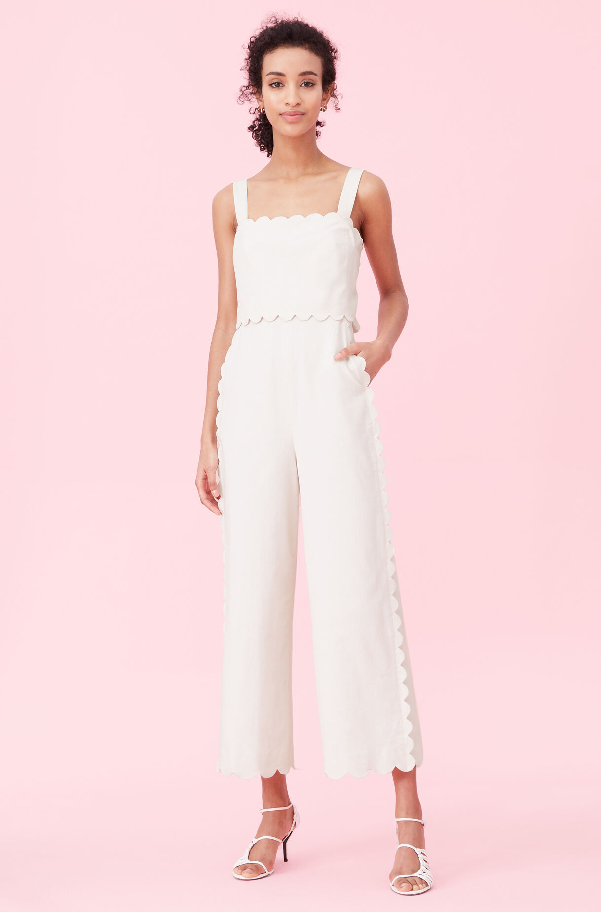 Scalloped Suiting Jumpsuit, Vanilla, large