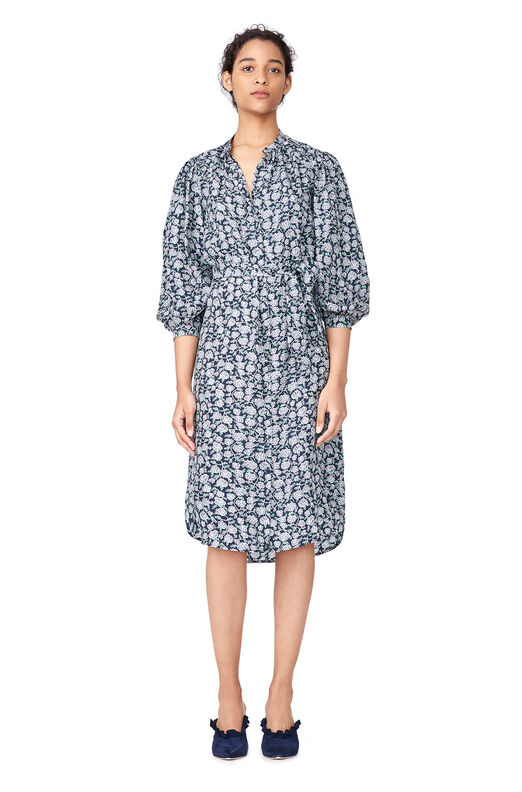 Capucine Floral Hammered Silk Shirtdress - Black Combo