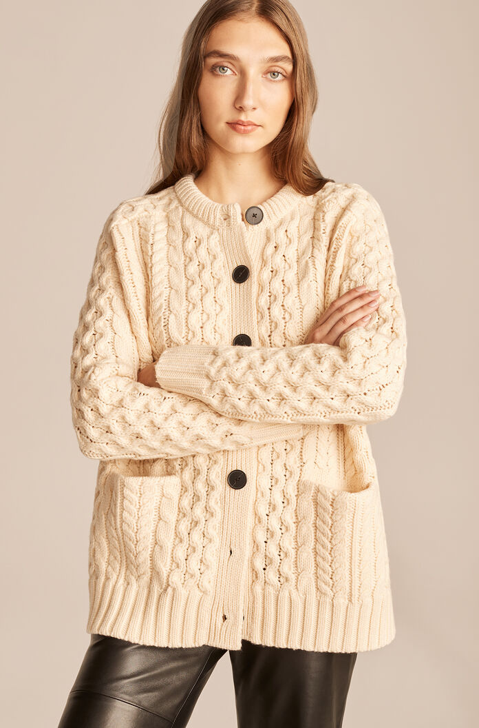 Cable Knit Oversized Cardigan-Pearl