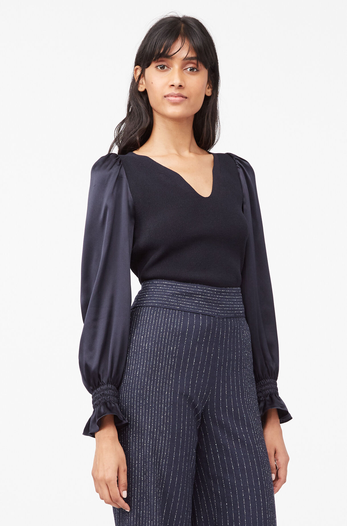 Tailored Matte Stretch Viscose & Silk Pullover, Navy, large