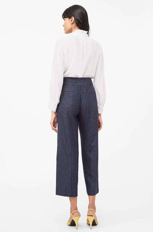 Tailored Mixed Pinstripe Pant, Navy, large