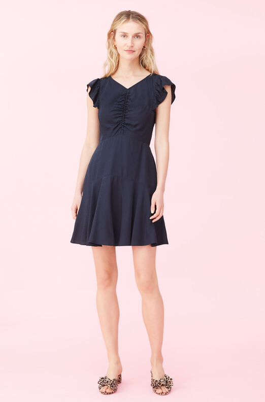 Dotty Jacquard Ruched Dress