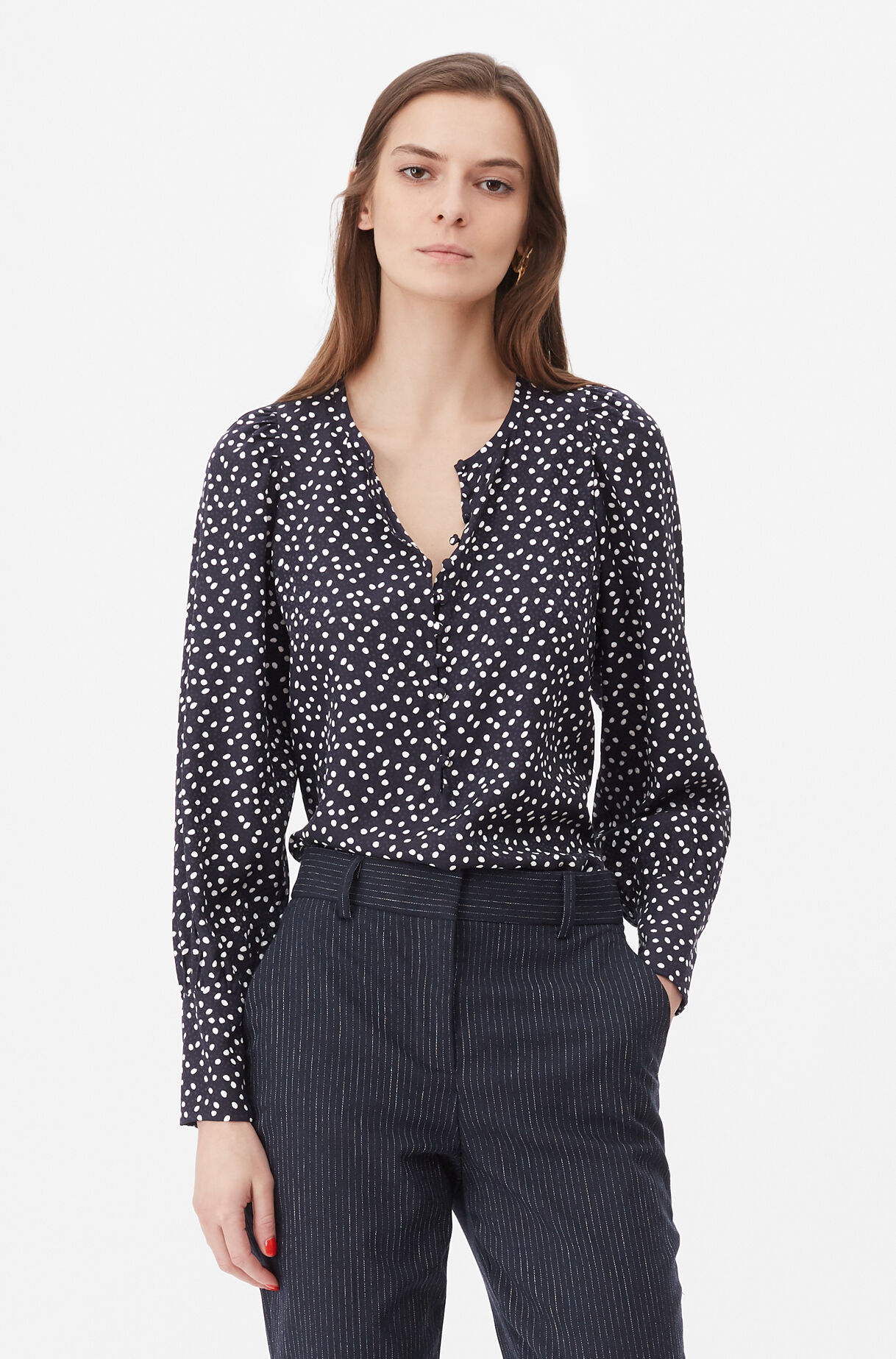 Tailored Pearl Dot Jacquard Top, , large