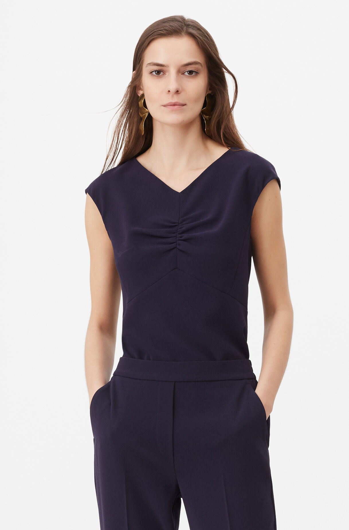 Tailored Crepe Top, , large