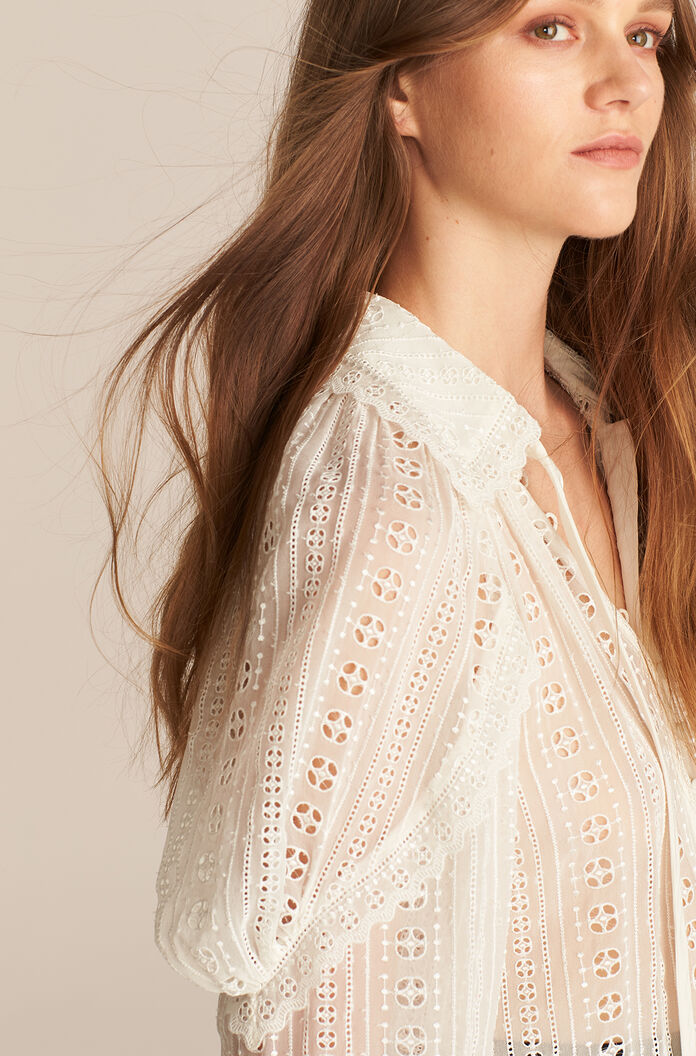 Long Sleeve Geo Embroidered Blouse, Snow, large