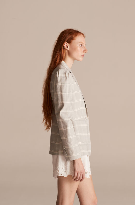 Tailored Slub Linen Plaid Jacket, Fog Combo, large