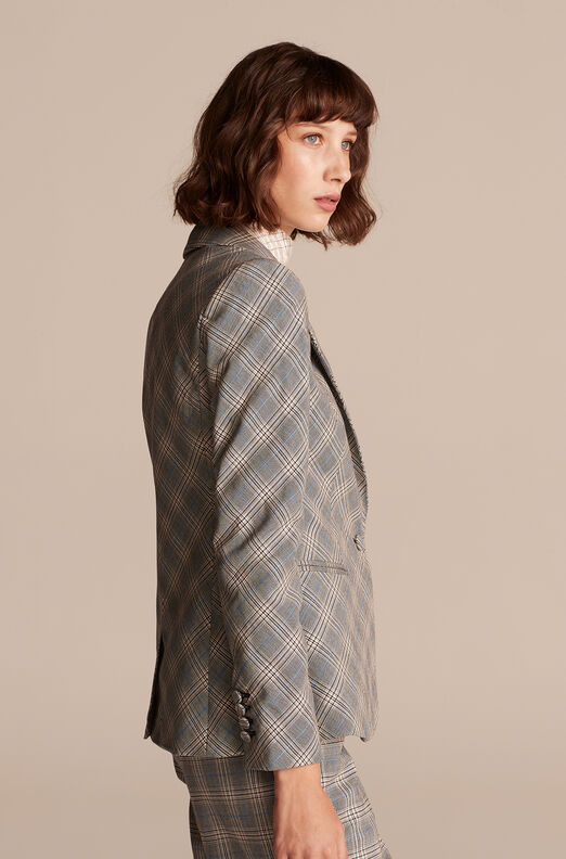 Plaid Suiting Jacket, Grey Combo, large