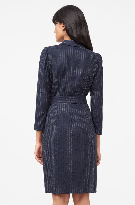 Tailored Pinstripe Blazer Dress