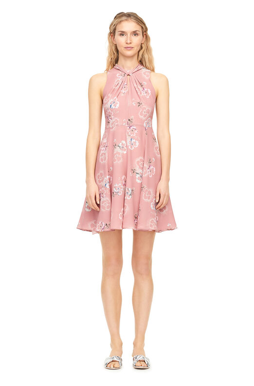 Faded Floral Silk Knot Neck Dress - Rosey Nude