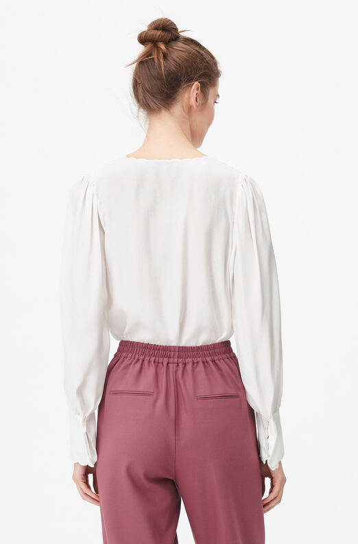 Tailored Embroidered Silk Charmeuse Top