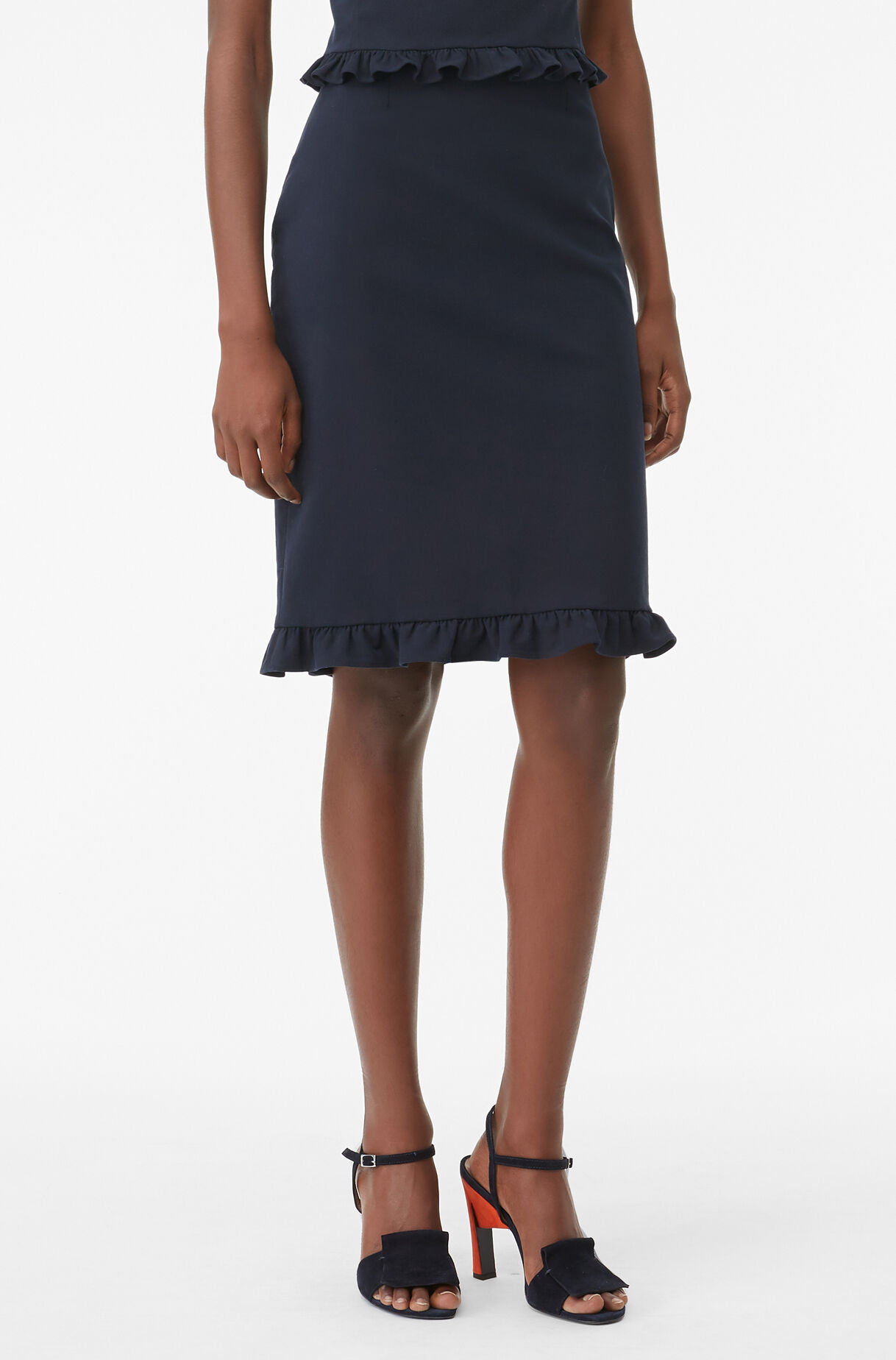 Tailored Ruffle Suiting Skirt, , large