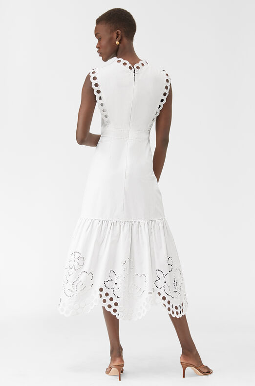 Ariana Eyelet Embroidered Wrap Dress, Milk, large