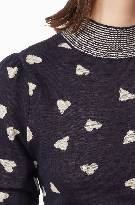 Scattered Heart Jacquard Pullover