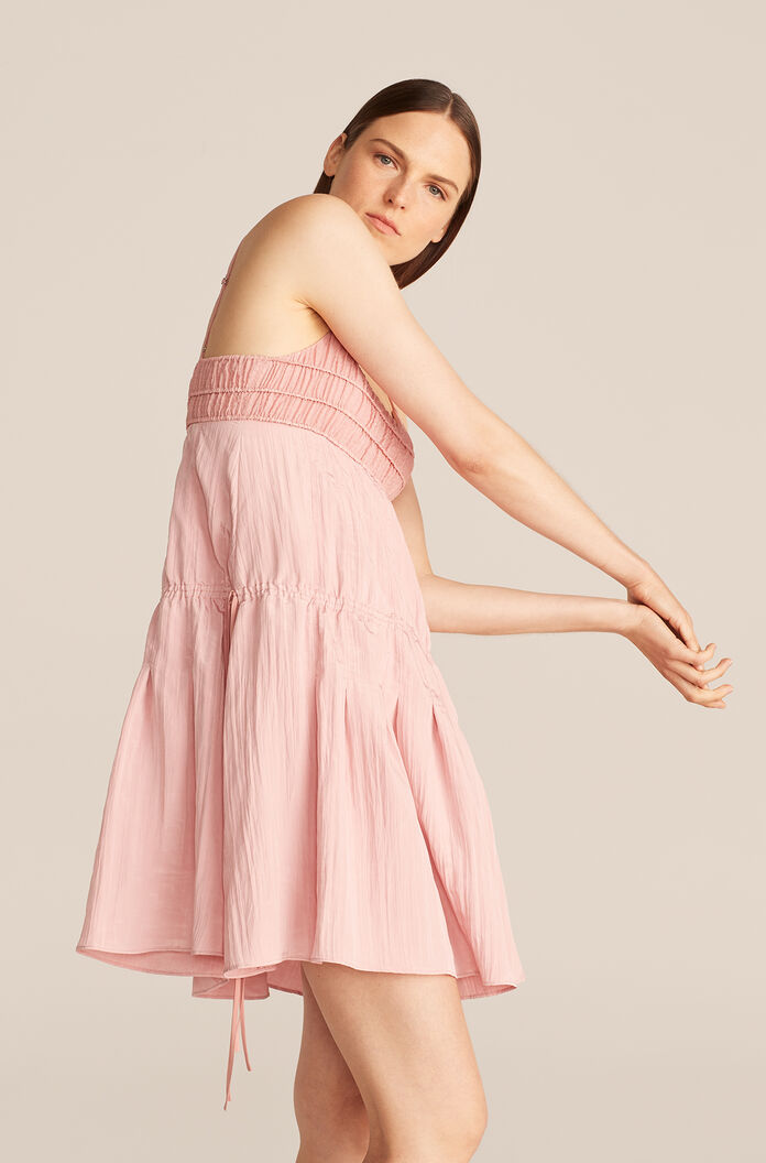 Pleated Lightweight Dress, Rhubarb, large