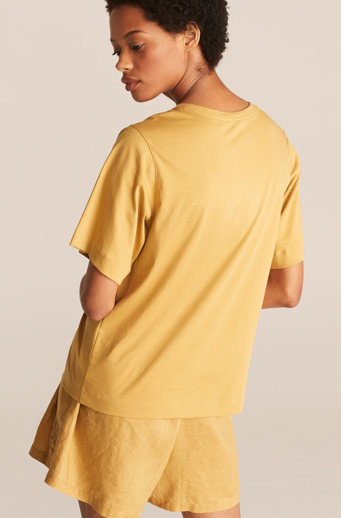 Tee With Smocking, Pear, large