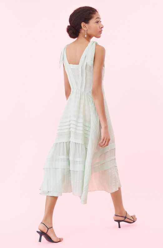 Silk Satin Stripe Dress