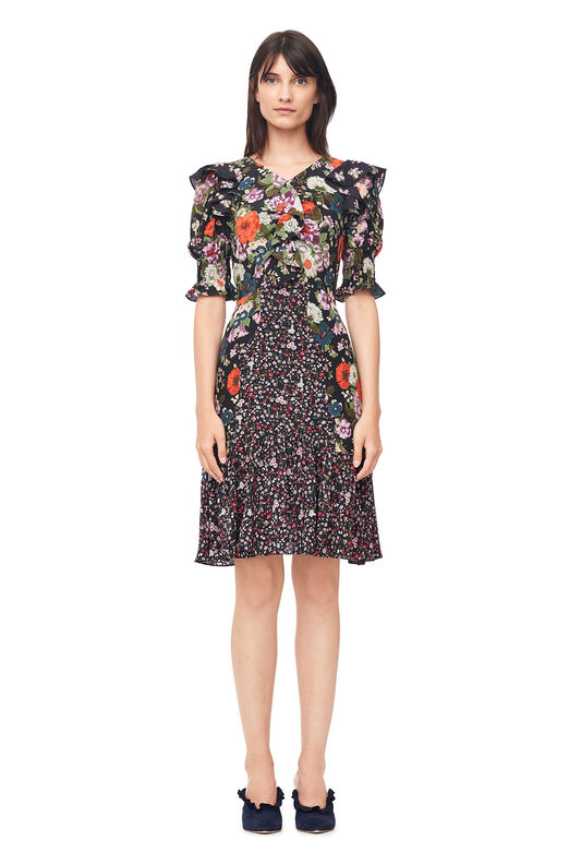 Mixed Print Silk Dress - Print Mix Combo