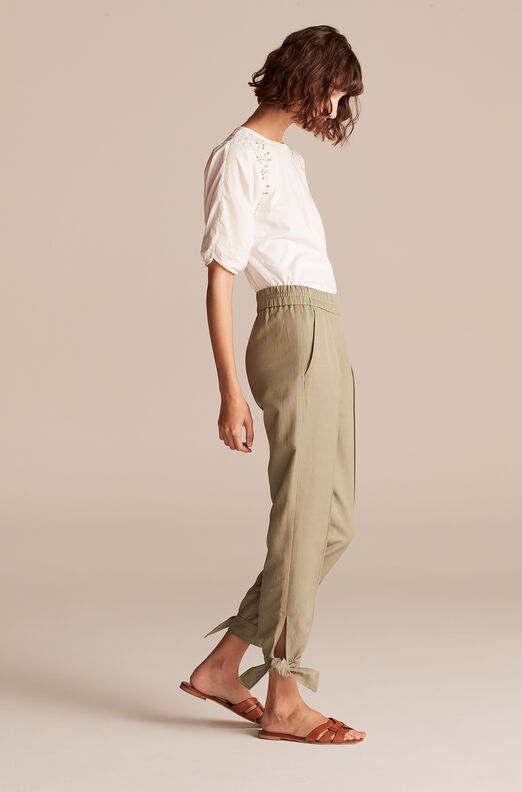 Broken Twill Tie Cuff Pant, Olive, large