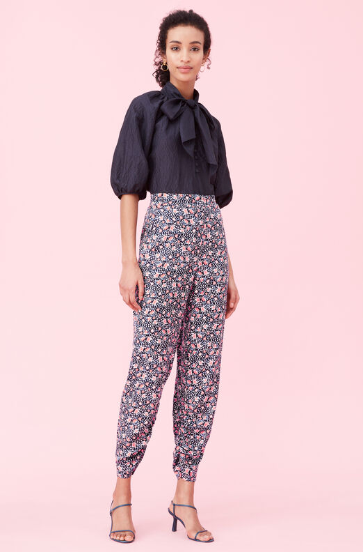 Twilight Bloom Silk Twill Pant