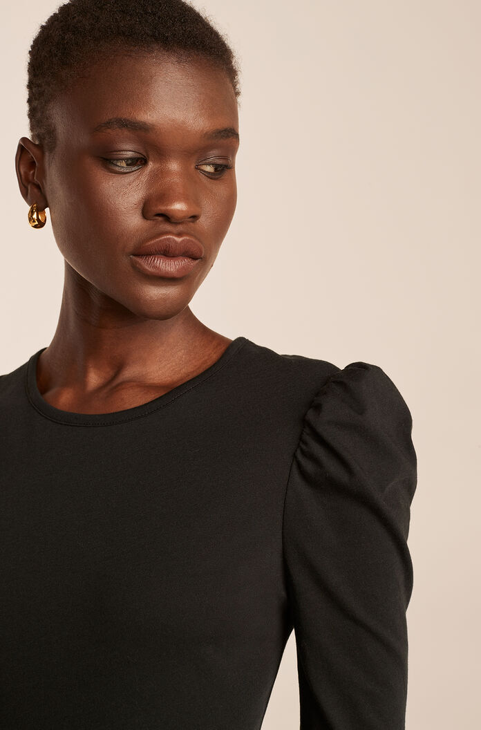 Ruched Long Sleeve Knit Top-Black