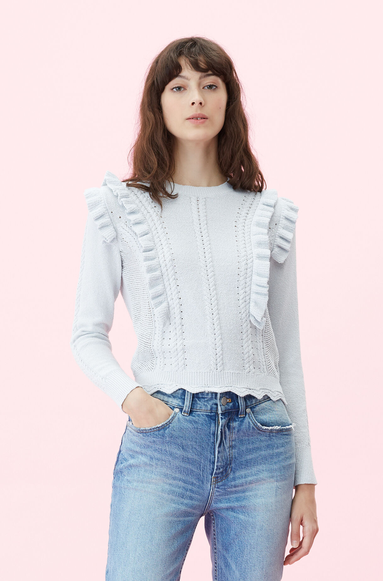 Crimp Cotton Ruffle Pullover