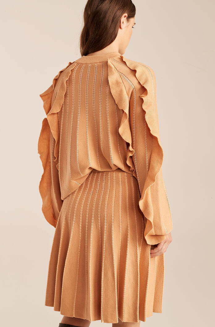 Pleated Stitched Skirt With Ruffles, Sunkiss, large