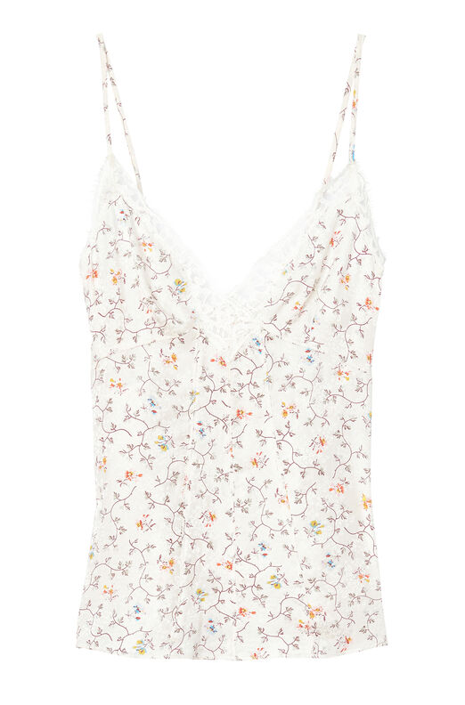 Vine Print Silk Cami With Lace