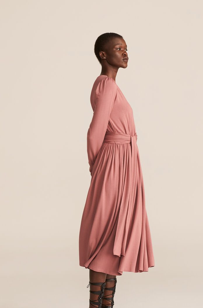 V-Neck Modal Dress, Rose, large