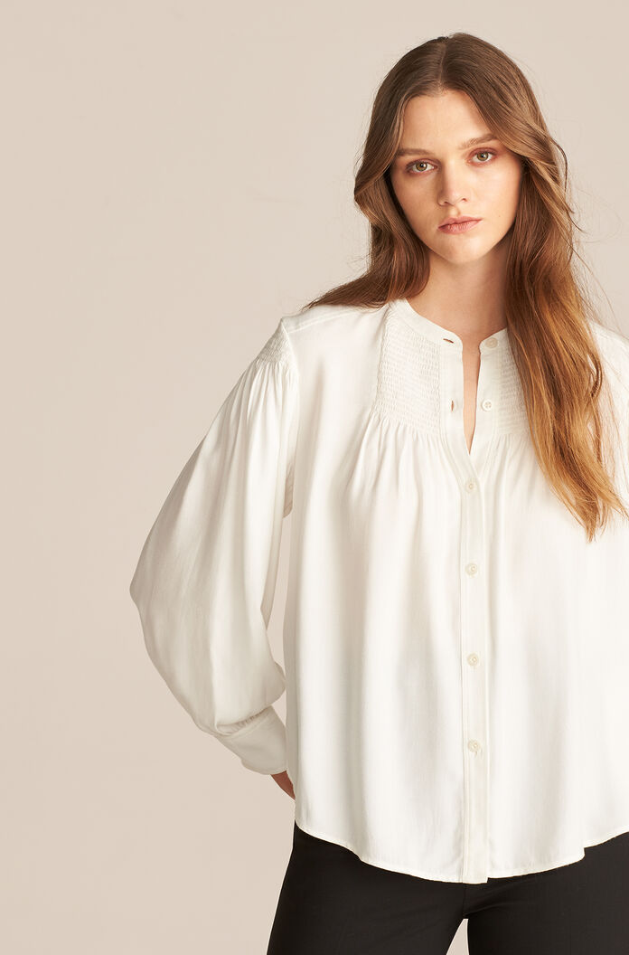 Long Sleeve Twill Blouse, Milk, large