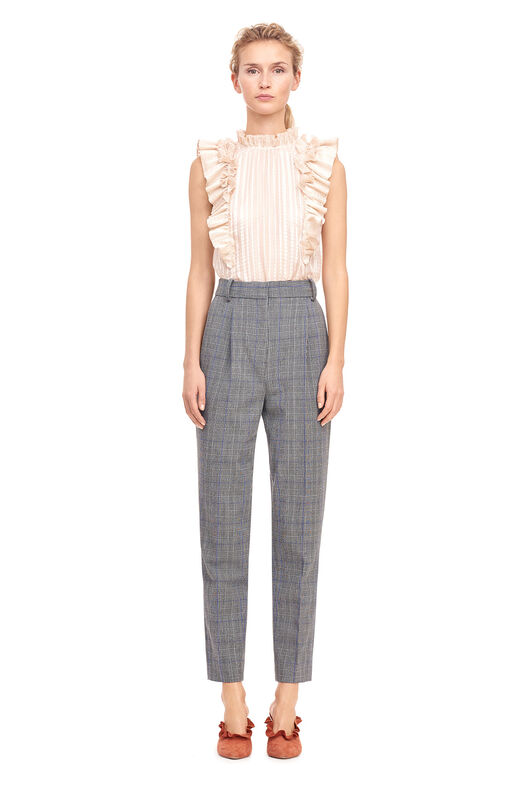 Metallic Plaid Chiffon Pleated Top - Parfait