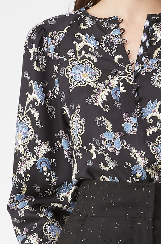 Paisley Fleur Silk Twill Top, Black Combo, large