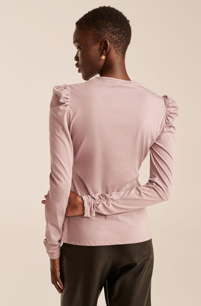 Ruched Long Sleeve Knit Top, Pale Lilac, large