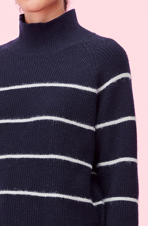 Fluffy Stripe Turtleneck Pullover