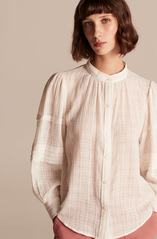 Gauzy Check Long Sleeve Top, Milk, large