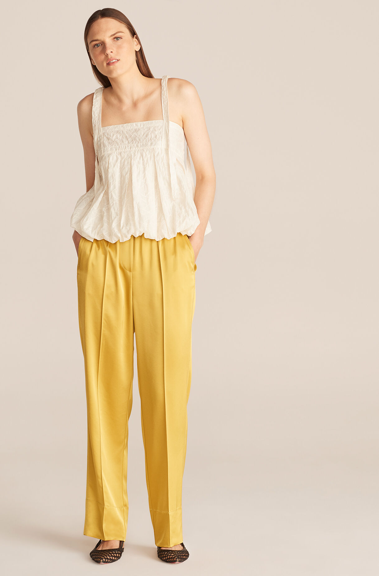 Satin Pull on Pant-Chartreuse