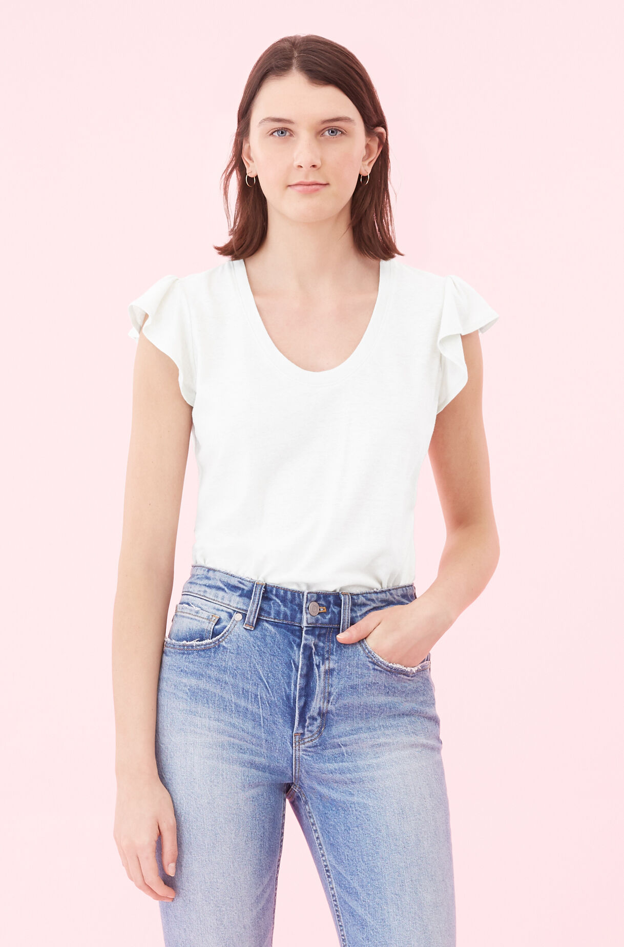 La Vie Washed Textured Jersey Tee, Milk, large