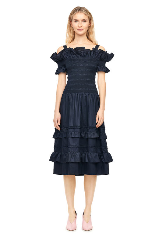 Off-The-Shoulder Cotton Sateen Dress - Navy