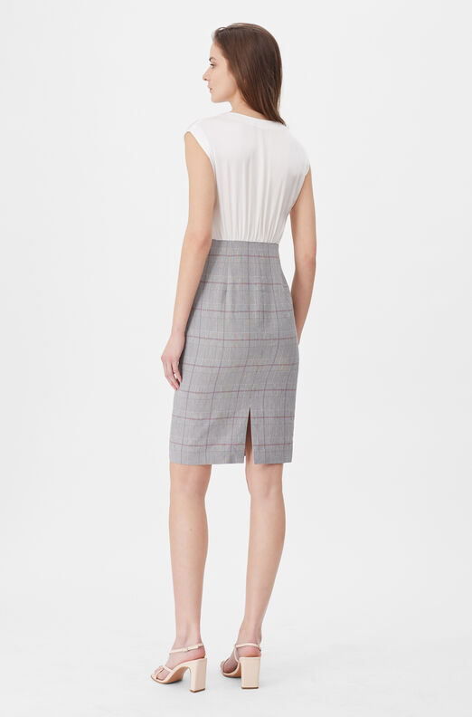 Tailored Summer Check & Silk Dress