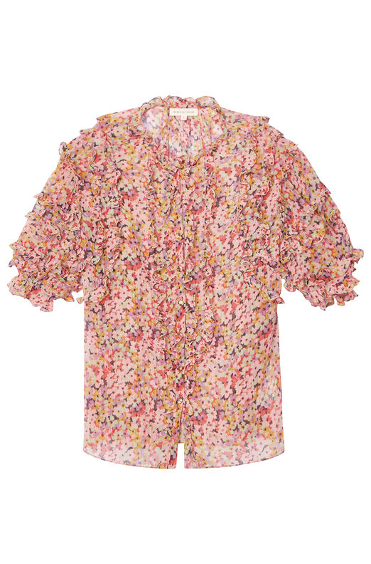 Margo Floral Silk Cotton Voile Top