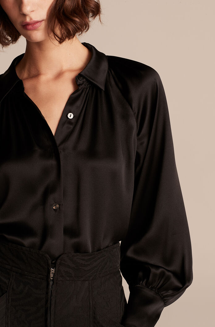 Silk Charmeuse Button Down Top, Black, large