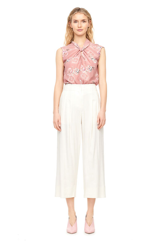 Faded Floral Silk Knot Neck Top - Rosey Nude
