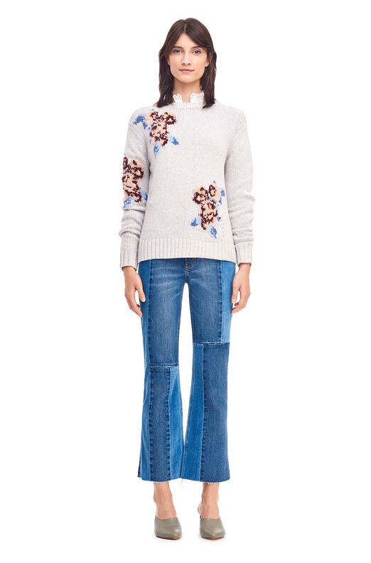 La Vie Floral Intarsia Pullover - Light Heather Grey Combo