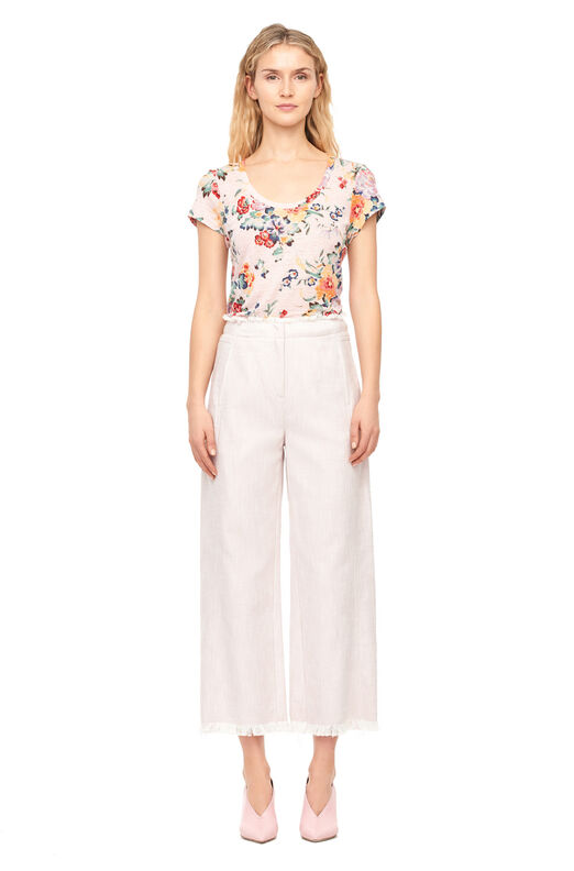 Slub Suiting Wide Leg Crop Pant - Orchid