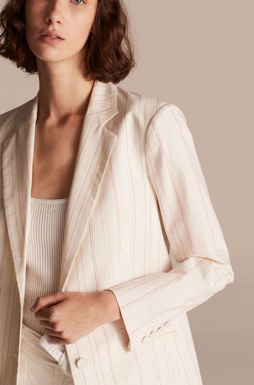 Tailored Stitched Stripe Blazer, Snow Combo, large