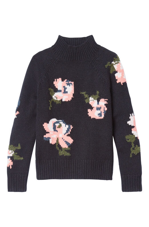 Floral Intarsia Pullover